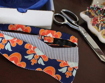 Floral bowties for boys and men - Mod navy and orange bold print, Radiant Orchid Floral in Linen and Whimsical garden