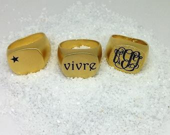 Monogram Ring, Signet Ring, Custom Ring, Initial Ring, Engraved Ring, Personalized Ring, Pinky Ring, Personalized Signet Ring, Seal Ring