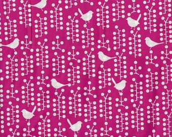 Bright Pink Birds and Berries Print - by the YARD - Cotton Fabric