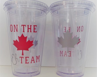 CANADA 16OZ ACRYLIC Tumbler - On the EH Team! Show your Canadian Love! Canada drinkware, Canadian tumbler, Canadiana, Maple leaf