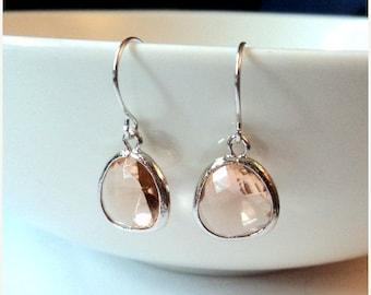 SALE Gift Peach earrings Champagne earrings Blush earrings Silver earrings Dangle earrings Drop earrings Bridesmaid earrings Bridal earrings