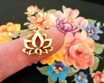 Lotus necklace Gold lotus flower necklace Lotus Jewelry Lotus charm Lotus pendant Spiritual jewelry Spiritual necklace Gift for Her