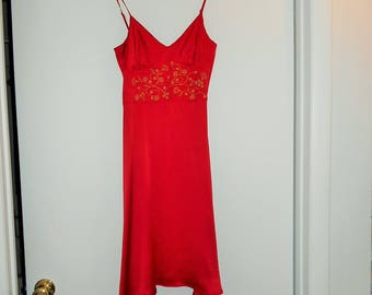 GRUNGE SILK SLiPDRESS CoBAIN Rocker Red Silk cami strap Slip Dress Babydoll xs size 2 Vintage Pristine