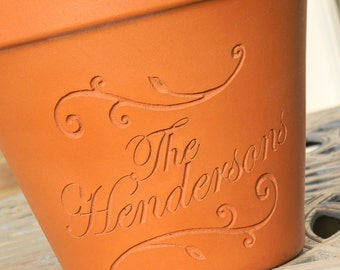 Engraved Custom Carved Terra Cotta Flower Pot