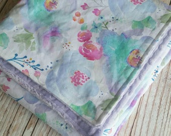 Baby Blanket - Minky Blanket - Girls Baby Blanket - Purple Blanket -Watercolor Toddler Blanket - Floral Baby Bedding - Baby Christmas Gift