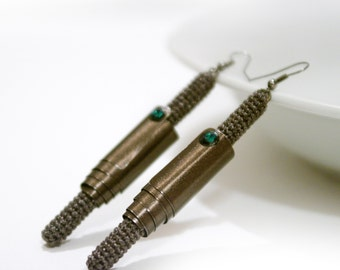 Stick Earrings, Smoky Brown Earrings, Modern Style Earrings, metallic crochet tube, aluminum sheet, swarovski crystals