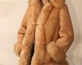 WARM sheepskin shearling 70s princess coat L XL