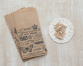 Set of 10 hand stamped paper bag + 10 paper doilies + 10 wooden clip