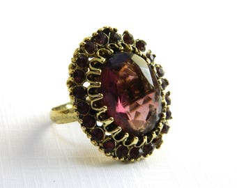 Vintage Gold Purple Amethyst Rhinestone Cocktail Ring - 7 Carats Oval Faceted Glass - February Birthstone - Adjustable - Hollywood Statement