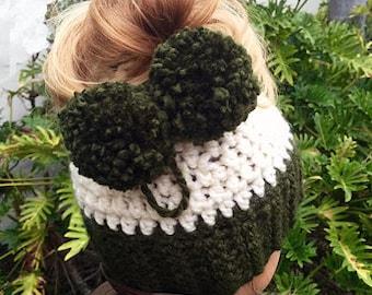 Messy Beanie Bun Hat Crochet Pattern - Messy Bun Beanie - Crochet Pattern -  Ponytail Hat Crochet Pattern - Crestlynn Messy Bun Hat Pattern