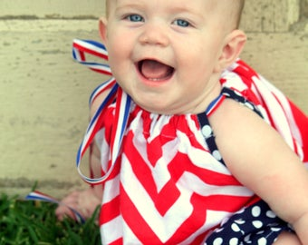 4th of July Summer Dress for Baby to Toddler Handmade