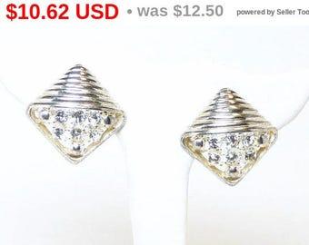 Spring Sale Vintage Rhinestone Earrings - Square Clip on Silvertone