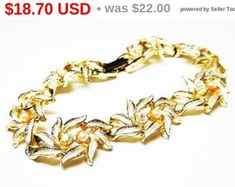 Spring Sale White Enamel Leaves Bracelet with Faux Pearl Beads & Aurora Borealis (AB) Rhinestones - Leaf Links - Vintage 1960's Jewelry