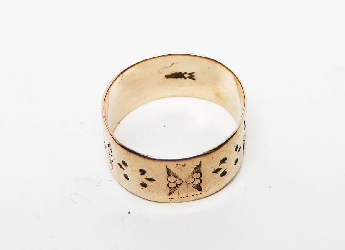 Victorian 10K Rose Gold Ring Wedding Band 1860s Civil War Era