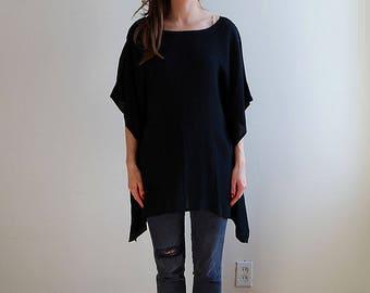 vintage black drapey blouse