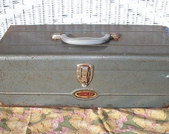 Vintage Awesome Dunlap Tool Box with Red Tool Tray Shelf