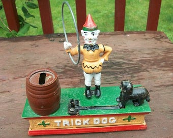Vintage Adorable Circus Clown Trick Dog Cast Iron Mechanical Bank