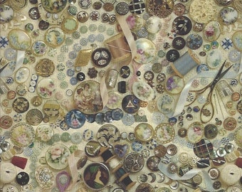 Vintage Victorian Buttons Sewing Gift Wrap Wrapping Paper 20X20 FREE Shipping USA