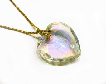 "Vintage Crystal Heart Pendant Aurora Borealis 1 1/2"" Heart Necklace Large Glass Heart 20"" Necklace Gift for Her Gift for Mom Under 25"