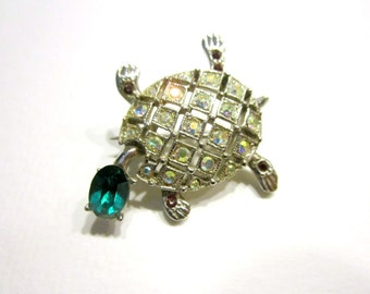 Vintage Rhinestone Turtle Green Aurora Borealis Small Pin for Her Gift for Mom Jewelry Gift Under 10