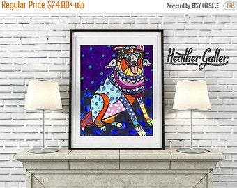 50% Off Today- Australian Shepherd art dog  Art Print Poster by Heather Galler Dog Angel Memorial Gift (HG148)