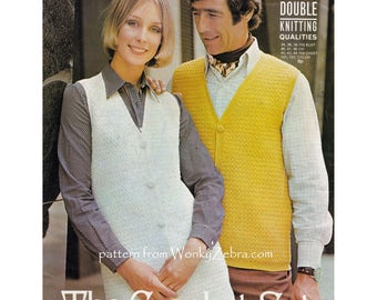 Crochet waistcoat vest his and hers unisex Vintage Crochet Pattern in many sizes PDF 946 from WonkyZebra