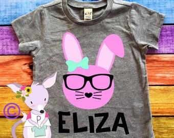 Custom Bunny Easter Bunny Shirt Kids Shirt Easter Shirt Tshirt Boy or Girl Easter Bunny Hipter Hip Hop Bunny Shirt Any Name or Color Bunny