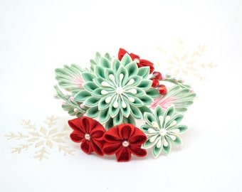 Red and mint candy cane Japanese kanzashi hair pin