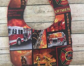 Fireman Bib-Firetrucks Baby Bib- Baby bib-Bibs- Minky Baby Bibs-Personalized baby Bibs-Baby boy bib-Baby girl bib