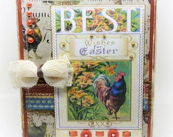 Easter Card - French Country Themed Handmade Card - Rustic Roster Card - Rustic Card - Roster Card - Country Card - French Country Card