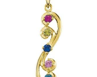 Family Birthstone Swirl Design, 14K White or Yellow Gold Pendant, 1 to 5 Stones, Custom-Made Family Pendant, Gold Family Birthstone Necklace