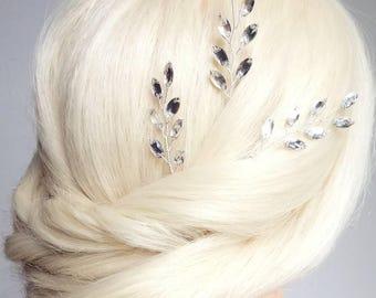 Crystal Hair Pieces, Bridal Hair Pins, Rhinestone Hair Vine, Wedding Headpiece, Leaf Vine, Leaf Hair Pins, Bridal Hairpieces