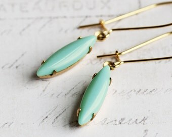 Small Light Turquoise Blue Rhinestone Earrings on Gold Plated Hooks, Dainty Jewelry
