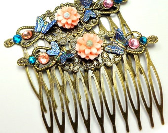 Beautiful Peach Mums, Blue Butterfly & Dragonfly, Brass Hair Combs, Vintage Style, Hair Accessories,Flower Girl,Brides maid, Prom Hair, OOAK