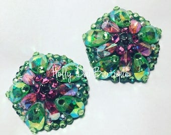 Pink Green Watermelon Rhinestone BURLESQUE couture pasties