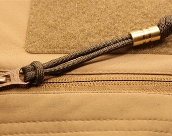 """Wide Edge """"Extra"""" Medium Brass Lanyard Bead With Two Grooves and a Free Paracord Lanyard"""