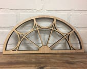 """Unfinished Vintage Inspired 24"""" x 11"""" Arch Window Frame"""