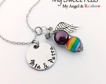 RAINBOW Baby Sweet Pea and Personalized Hand Stamped Stainless Steel Disc. Baby after Miscarriage / Infant Loss