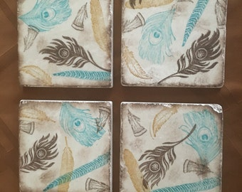 Drink Coaster ** Blue and Brown Assorted Feathers ** Set of 4 tile Coasters ** Gift * Gifts for Girlfriend * Wedding Gift * Gifts for Mom
