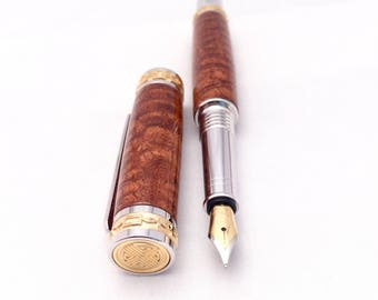 Handmade Wood Pen ** Wood Pen ** Fountain Pen ** Afzelia Xylay Wood - Unique Desk Gift - 5th Anniversary Gift * Wood Burl