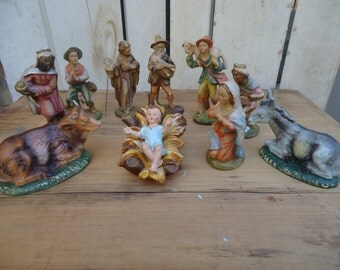 Vintage 10 Piece Nativity Figures made in Italy