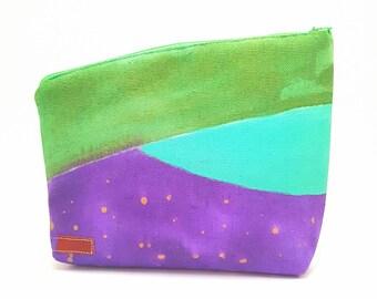 Green and purple, Hand painted, Cosmetics bag, Toiletry bag, Wash bag, Make Up bag, Pensil Bag, for boho, bohemian
