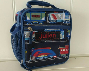 Kids Personalized Lunch Bag -- Pottery Barn Classic Style -- Navy Train