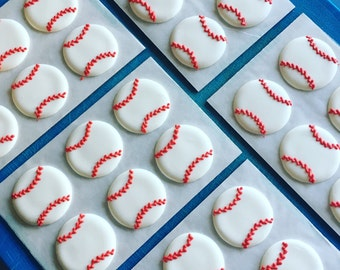 Baseballs- Made from Royal Icing- Edible Cupcake Toppers- (12)