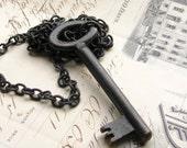 Authentic skeleton key necklace, large genuine antique key, black key, black necklace key, patina, authentic vintage key, rustic old key