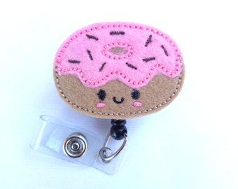 Badge reel id holder Retractable badge holder - nurse badge reel - Donut Time - tan pink felt doughnut with brown - medical badge reel