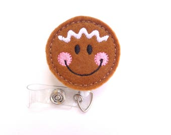 SALE - Christmas Badge Reel ID Holder Retractable - Gingerbread face nutmeg felt badge reel - nurse badge holder - medical badge reel