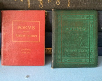 POEMS of Robert BROWNING and Robert BURNS - Miniature Poetry Books Gift Set of 2 - Little Leather Library 1920s Antique Vintage Book