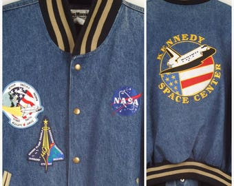 Kennedy Space Center Embroidered NASA Challenger Columbia Shuttle Patches Bomber Jean Jacket Mac Murray XL