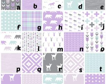 Custom Crib Bedding  Lilac Grove.  Gray,Lilac, Mint bumper,skirt,blacket,changingpad, fitted sheet